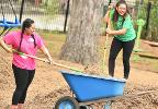 Student volunteers helping in community