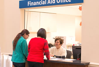Students at financial aid office