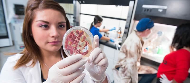 Female student holding petri dish in biology lab